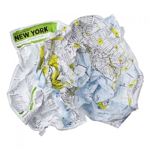 CRUMPLED CITY MAP NEW YORK
